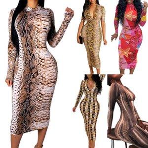 Yaz Lüks için 19SS Yeni Geliş Kadın Elbise Tasarımcı Uzun Kollu Elbiseler V yaka BODYCON Elbise Seksi Kulübü Stil F0006 Baskı yılan derisi