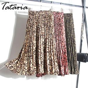 Tataria Femmes Léopard Imprimer Jupe Plissée Serpent Faldas Mujer Cordon Élastique Taille Hiver Veau Jupes Plissées Pour Femmes S19715