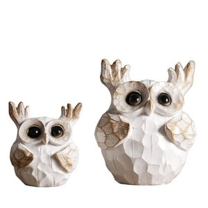 Resin old owl ornaments Creative home American Nordic decorations Living room TV cabinet soft furnishings Decorative Objects Home Accents