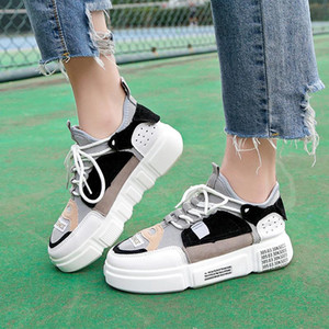 Lucyever Plate-forme Flat Graffiti Femmes Mocassins lacent Flats bout rond Chaussures pour femmes Casual 2019 New Student Mode