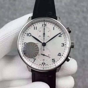 Mens Limited Edition ETA 7750 механическое движение алмазов случай кожаный ремешок порт Luminous Наручные часы