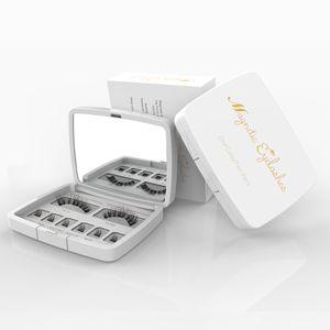 8pcs Genailish 3D Cils magnétique Mink Lash complet Strip Lashes Faux cils avec des pincettes double aimant Faux Lash SCT-W-602