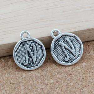 "100pcs / sürü Antik Gümüş ""N"" Alfabe İlk alaşım Charms Kolye Moda Takı DIY 14.8x28.2MM A-392"