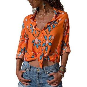 Девочка одежда шифон Цветочного отворот шея Отпечатана с длинным рукавом летом конструктора рубашка женщины лето футболка