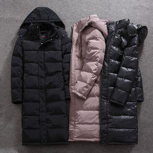 DHfinery mens Winter Daunenjacke entwerfen lang 80% weiße Entendaunen Mantel Große Kapuzenjacke bei 30 Grad minus W556