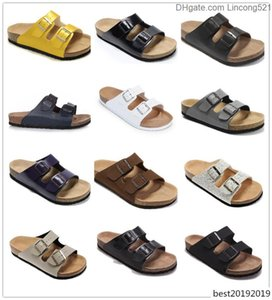 Famous Brand Men Genuine Leather Slippers Women Sandals with double Buckle Men Shoes Arizona Summer Beach high Quality With Orignal Box