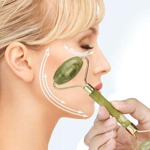 Doble cabeza Masaje facial Rodillo de jade Cara Cuerpo Cabeza Cuello Naturaleza Dispositivo de belleza Masajeador facial Jade Rodillo de cara