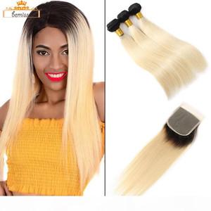 Virgin cheveux brésilienne non transformés 3 Bundles avec fermeture 1B 613 Blonde droite Human Hair Tissages Trame DHgate Selet cheveux Extensions fournisseur