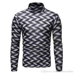 Tops de lujo para hombre de la tela escocesa de t delgado ocasional de Hiphop camiseta de manga larga de moda para hombre Pullover