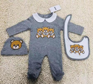new born romper 2019 kids 3 Pieces sets Kids high quality cotton long sleeve cartoon bear romper +bibs+hats kids clothing 3 colors