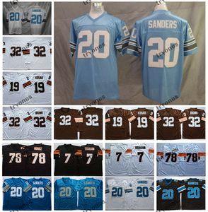 Para hombre de la vendimia de la NCAA 20 Deion Sanders 32 Jim Brown Jersey 19 Bernie Kosar 78 Anthony Muñoz 7 Boomer Esiason camiseta de fútbol