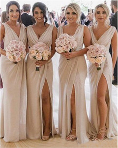 2020 V-cuello novia doncella de vestidos de honor Imagen real Vestido Madrinha Slit Sirena Vestidos de dama de honor largo Sexy sexy vestido de fiesta sin espalda