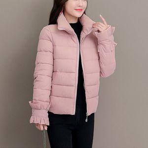JAYCOSIN 2019 Invierno Mujeres sólido Zipper Sweety Pan Escudo gira el collar abajo Casual corta de algodón acolchado chaqueta de las chaquetas calientes 125