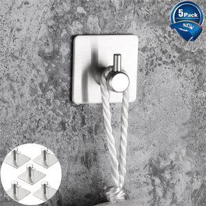 30 # 5pcs autoadesivo gancho da parede Gancho de porta de aço inoxidável armazenamento Hooks grátis - prego Banho Kichen Organizador suporte de toalha