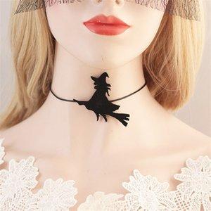 DoreenBeads Fashion Halloween Choke Necklace Creative Broom Star Witch Bat Pattern Trendy Jewelry For Women Accessories,1 PC