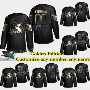 San Jose Sharks Jersey Golden Edition 88 Brent Burns 9 Evander Kane 65 Erik Karlsson 48 Couture Personaliza cualquier número Cualquier nombre Hockey Jerseys