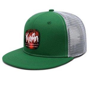 Korn Encounter Unisex Düz Brim Trucker Cap Düz Takım Beyzbol Şapka Korn logosu Yeni Metal Rock Band Kafatası sıçramak Görüntü Korn-Sayı-Logo