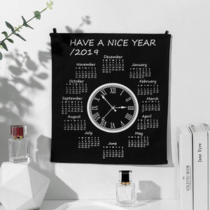 2019 Año Nuevo Simple reloj calendario innovador tela inglés pared Calendario colgante mantel
