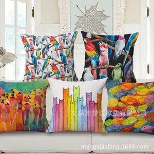 Meng Qi Textiles para el hogar Loro Almohada de impresión Acuarela Goldfish Cushion Set Oficina Siesta Almohada