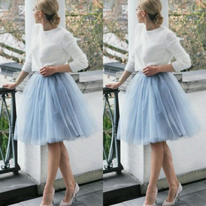 Wholesale 2015 Short Skirts Light Blue Skirt Free Size Custom Made Layers Knee Length Tulle Women Party Skirts Tutu Gauze Women Lady Daily Clothing