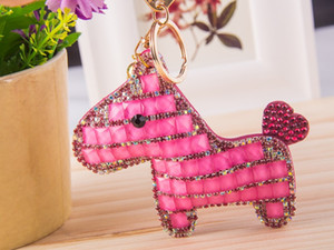 pony embossed leather keychain bag pendant crystal ornaments car key ring
