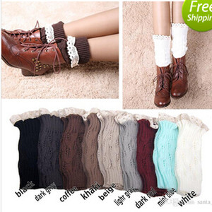 Wholesale Women Girl Leg Warmers Hosiery Stockings Crochet Knit button white Lace trim Boots socks Cuff Leggings Tight colors