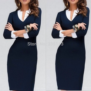 Wholesale 2015 New Fashion Women V Neck Knee Length Three Quarter Sleeve Dress Business Party Work Wear Bodycon Casual Pencil Dress