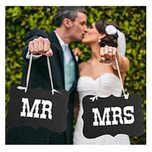 Wholesale wedding decors ideas resale online - Black and White MR MRS wedding Photo booth decor with Ribbon Wedding decoration Ideas for Wedding supplies Marrage TY867