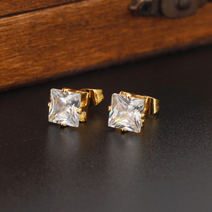 Classics Romantic Luxury Fashion Design 24k Solid Fine Yellow Gold Filled Cubic Zirconia 8MM Square Wedding Stud Earring for Women
