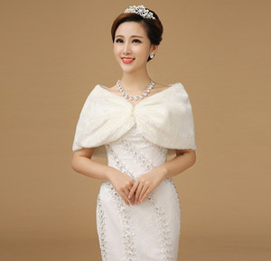 Wholesale Winter Autumn Noble Elegant Warm Faux Fur White Bolero Wedding Wrap Shawl Bridal Jacket Coat Accessories PJ13