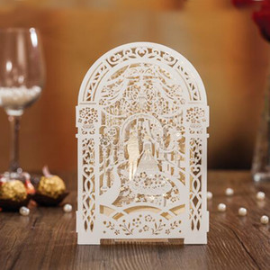 Wholesale 2019 Weddding Invitation Card Elegant Laser Cut White Paper Event Party Supplies Decoration Groom and Bride Floral Invitations