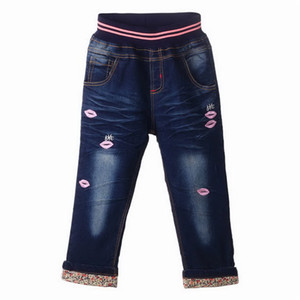 Wholesale Pettigirl Retail Fashion Girls Autumn Clothes With Purple Embroidered Lips Girls Jeans Children Clothes PT81016