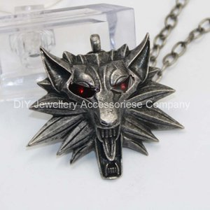 Wholesale 12pcs cm red eyes original Witcher pendant wizard Witcher medallion pendant necklace the wild hunt figure game wolf amulet