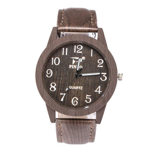 Wholesale 5pcs Hot wooden gwatches for men women Vintage Leather Quartz Wood Watch Clock New Luxury Genuine Leather Strap Wrist watches