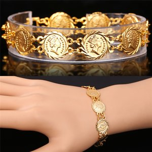 Wholesale Platinum K Real Gold Plated Queen Head Jewelry Coin Bracelet Vintage New Fashion Jewelry Bracelets For Women H5157