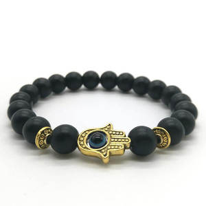 Wholesale Cute Bear Brand Black Matte Bead Lava Stone Beaded Bracelet Women Fatima Hamsa Hand Bracelet Men Jewelry