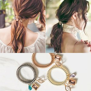 Wholesale New Arrived Telephone Wire Coil Hair Band with Crystal Diamond Charm Jewelry Bracelet Wristband Hair Tie Pony tail Holder Scrunchies