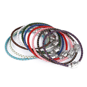 Wholesale 3MM Genuine Leather Braided bracelets Mixed colors DIY Rope Bangle Fit Big Hole European beads Charm bracelets women men Jewelry Accessories