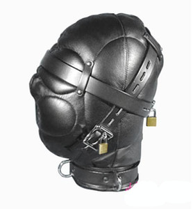 Wholesale hood sex locks resale online - Leather Sex Headgear sensory deprivation bondage hood hat with Locking Buckles Sex Headgear With Lock J1805