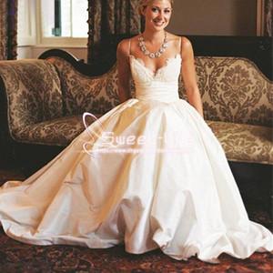 15f6e681d8 Modest 2017 A-Line Wedding Dresses Spaghetti Straps Vintage Lace Appliques  with Pockets Chapel Train Taffeta Simple Bridal Gowns