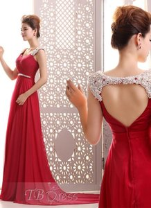 2016 Hot Sale Fashion New Arrival Charming Free Shipping A-Line Straps Pearls Beading Floor-Length Backless Chiffon Evening Dresses 1121 on Sale