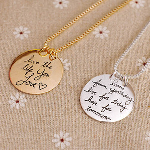 Wholesale Gold Silver Jewelry Learn From Yesterday Live For Today Hope For Tomorrow Pendant Necklace