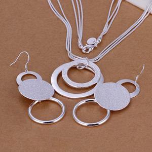 Wholesale High grade sterling silver Dual sand O piece jewelry set DFMSS017 brand new Factory direct silver necklace earring