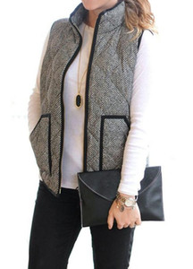 Wholesale-Big Pocket Autumn Winter Sleeveless Women Cotton Casual Ladies Jackets Black denim Herringbone Vest Quilted Cotton Puffer Vest