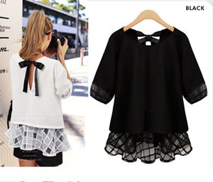 Wholesale New Style Modern White and Black Chiffon Tops Round Collar Plus Size Short Sleeve Back Bow Tie Patchwork Shirts