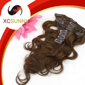 XCSUNNY Brazilian Virgin Hair Clip Ins Clip In Remy Human Hair Extensions Full Head #4 Brown Body Wave Grade A 90-130g(9pcs) set