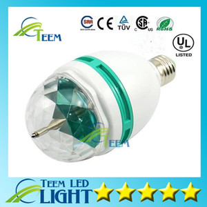 Wholesale led color rotating lamp bulb resale online - Epcket W E27 RGB lighting Full Color LED Crystal Stage Light Auto Rotating stage Effect DJ lamp mini Stage Light Bulb