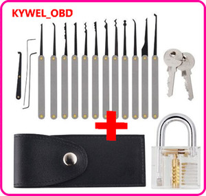 Lock Pick Set, Practice Lock Picking Set, Visible Lock Training Set Trainer with 15 Pieces Tools and Transparent Practice Padlock