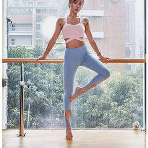 Wholesale sexy yoga pants for sale - Group buy Step on foot crossed straps yoga pants running dance Leggings para mujeres sexy plus size quick dry Ropa de mujer leggings for women