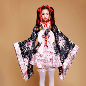 Shanghai Story Japanese Kimono Heavy Sakura Cosplay Anime Outfit Maid Costume Dress Kimono Pink Vestidos 6 pieces set For Women Girl